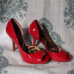 Jessica Simpson patent red peep toe heels